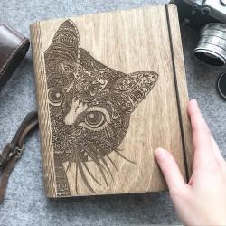 """Drevený zápisník """"Mačička"""""""