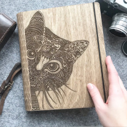 "Wooden notebook ""Cat"""
