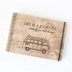 """Drevený zápisník """"Life is a..."""