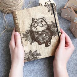 """Drevený zápisník """"Mačka"""""""