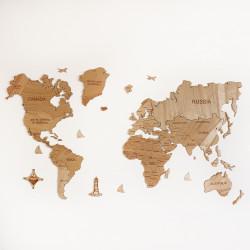 Drevená mapa sveta