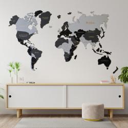 Drevená 3D Mapa Sveta