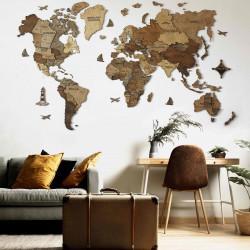 Drevená 3D Mapa Sveta...