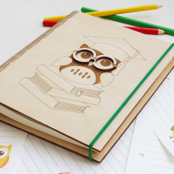 "Wooden Notebook  ""Owl"""